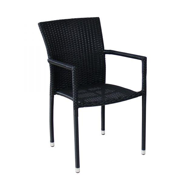 restaurant st hle bistro gastronomie m bel stuhl polyrattan torino schwarz ebay. Black Bedroom Furniture Sets. Home Design Ideas