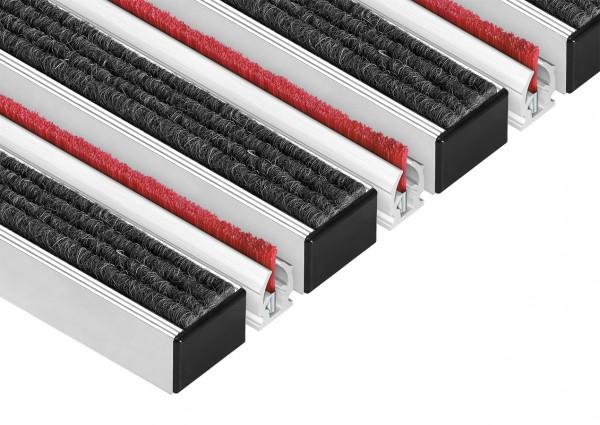 Aluminium-Profilmatten Natur-Rips mit Bürste Eingangsmatten Fußmatten 40x60x2,2cm