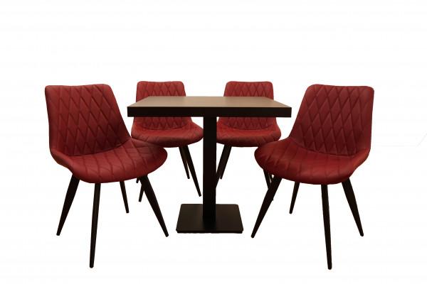 1+4 Garnitur 120x80cm Scarlet weinrot Restaurant Stühle Hotel Bistro Tische