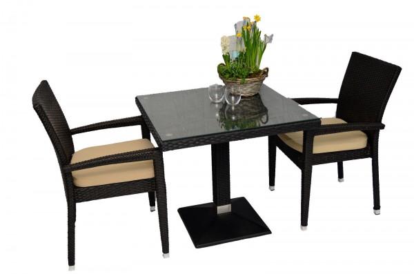 1+2 Set Verona Polyrattan Garten Outdoor Stühle Tisch Rattan stapelbar in Braun