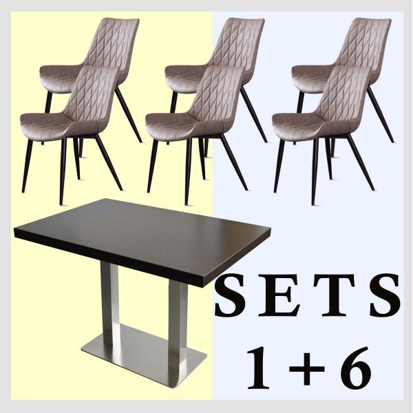 1+6 Garnitur 180x80cm Scarlet Hellbraun Restaurant Stühle Hotel Tisch