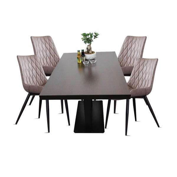 1+4 Restaurant Set Scarlet Hotel Bistro Tisch 80x1200 cm Stühle Gastronomie Möbel Hellraun