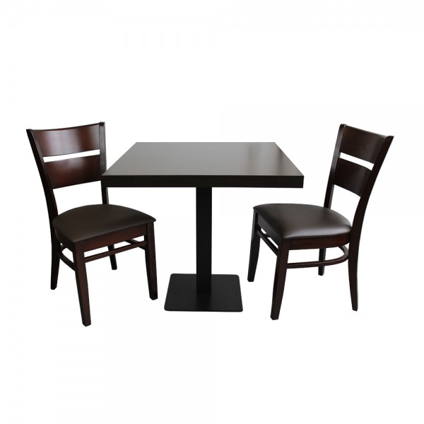 1+2 Grace Set 70x70 Restaurant Hotel Bistro Tisch mit Gusseisen Tischbein Stühle Gastronomie Walnuss