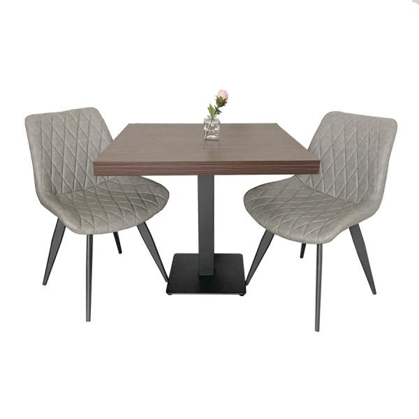 1+2 Garnitur grau Scarlet 80x80 Restaurant Tisch Walnuss und Stühle