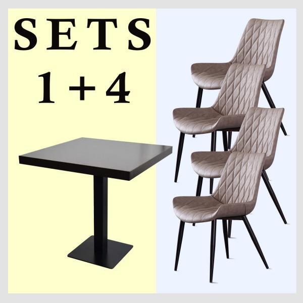 1+4 Garnitur 60x60cm Scarlet hellbraun Restaurant Stühle Hotel Bistro Tische