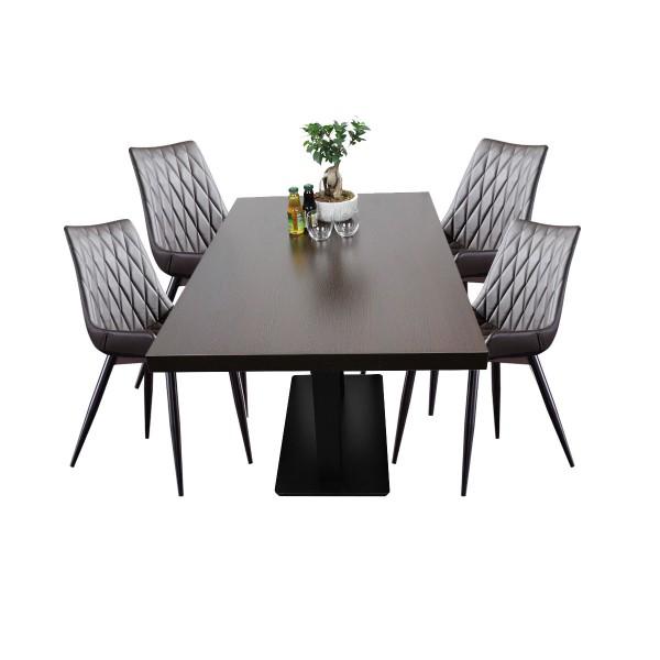 1+4 Restaurant Set Scarlet Hotel Bistro Tisch 80x1200 cm Stühle Gastronomie Möbel Braun
