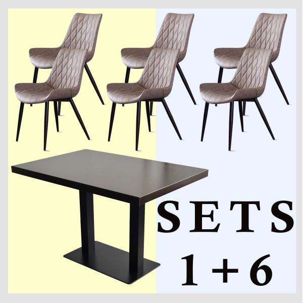 1+6 Garnitur 150x80cm Scarlet Hellbraun Restaurant Stühle Hotel Tisch