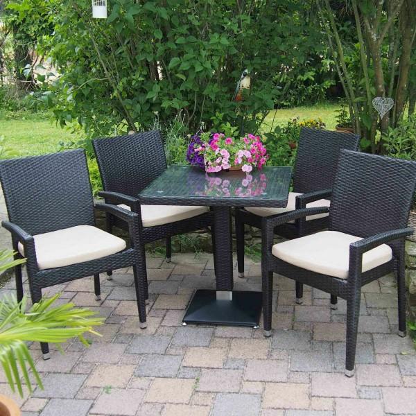 1+4 Set Verona Polyrattan Garten Outdoor Stühle Tisch Rattan stapelbar in Braun