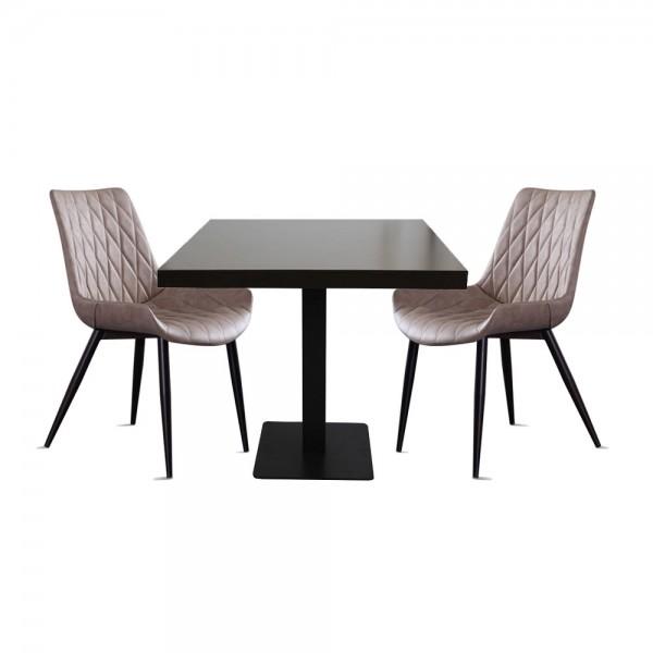 1+2 Set Stuhl Scarlet mit Tisch Milano Hellbarun