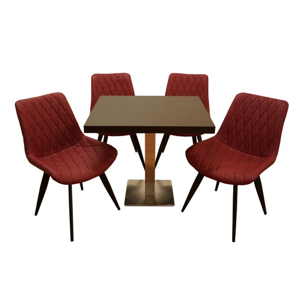 1+4 Garnitur 80x80cm Scarlet weinrot Restaurant Stühle Hotel Bistro Tische