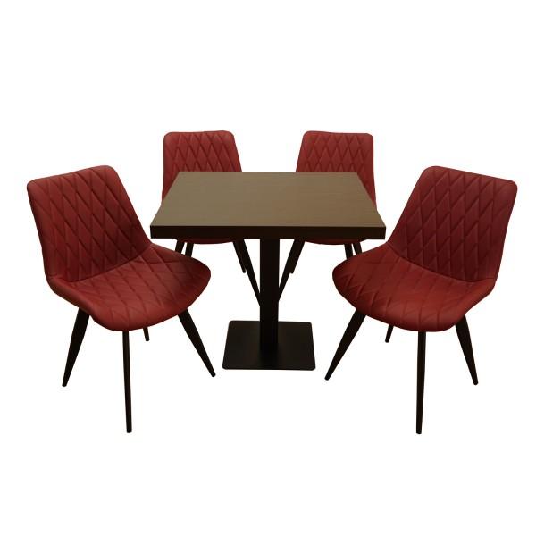 1+4 Garnitur 80x80cm Scarlet Rot Matt Restaurant Stühle Hotel Bistro Tische