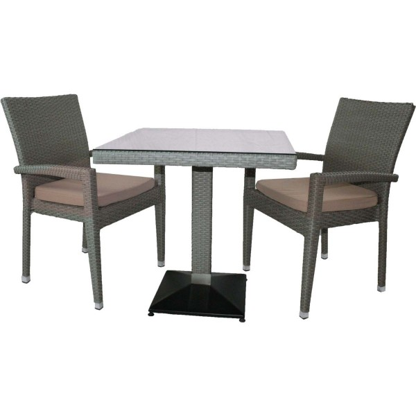1+2 Set Verona Polyrattan Garten Outdoor Stühle Tisch Rattan stapelbar in Grau
