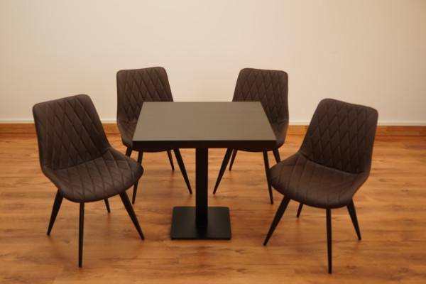 1+4 Garnitur 80x80cm Scarlet dunkelbraun Restaurant Stühle Hotel Bistro Tische