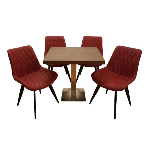 1+4 Set 80x80 Restaurant Stuhl Scarlet Hotel Bistro Tisch Stühle Gastronomie Möbel Rot Matt