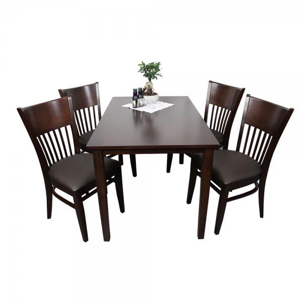 1+4 Garnitur Vera Restaurant Hotel Bistro Set Tisch und Stühle 120x75 braun