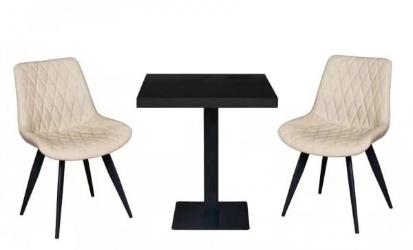 1+2 Set 80x80 Restaurant Scarlet Hotel Bistro Tisch Stühle Hellbraun