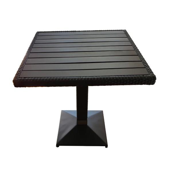 Tisch Verona 80x80cm Polyrattan und Holzimitat (WPC)