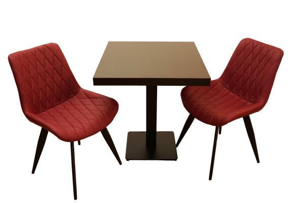1+2 Set 80x80 Restaurant Stuhl Scarlet Hotel Bistro Tisch Stühle Gastronomie Möbel weinrot