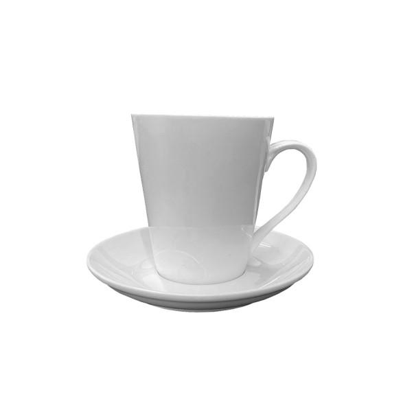 10er Pack Porzellan Kaffeetasse mit Unterteller