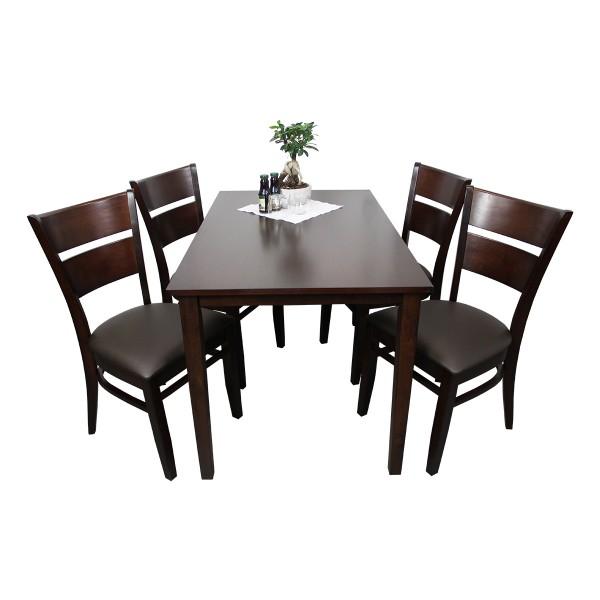 1+4 Garnitur Grace Restaurant Hotel Bistro Set Tisch und Stühle 120x75 braun